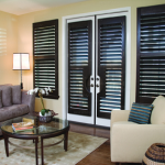 Wood Stain Plantation Shutters. French Doors with Custom Cutouts