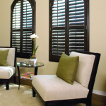 Arch-top Wood Stain Plantation Shutters