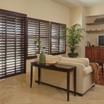 Woven Wooden Shades with Accent Hem Trim